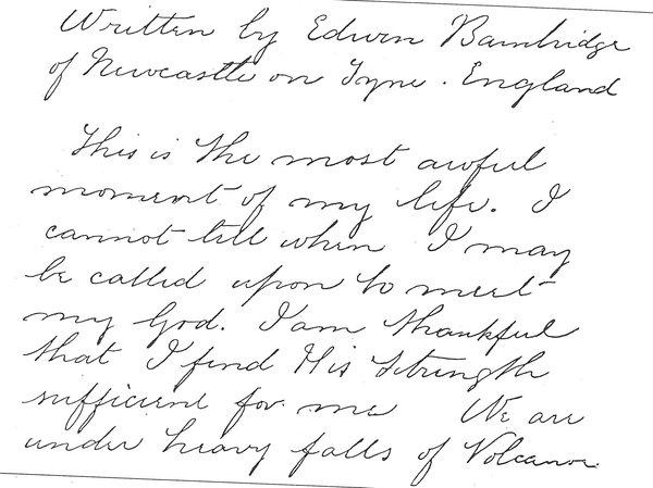 Edwin Bainbridge diary entry