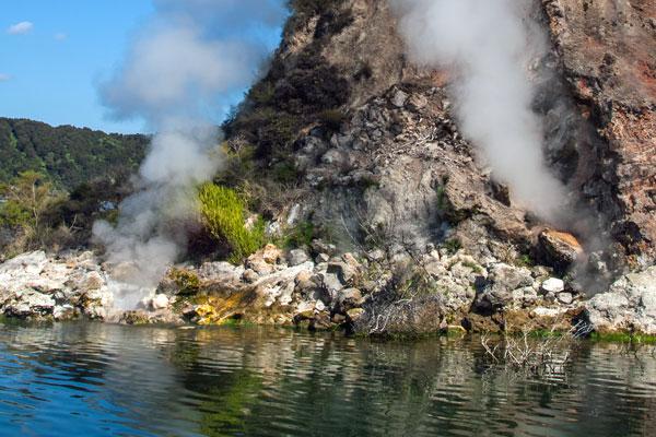 Lake Rotomahana steaming
